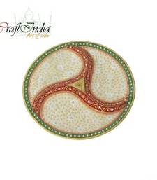 Buy eCraftIndia Embossed Dry-Fruits Marble Plate tray online