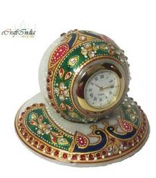 Buy eCraftIndia Colorful stone studded Marble Table Clock with Peocock other-home-furnishing online