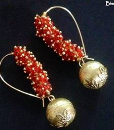 Buy Red_Ghungroo_Brass_Ball_Earrings danglers-drop online