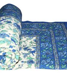 Buy Blue jaipuri hand made block print singal bed quilts quilt online