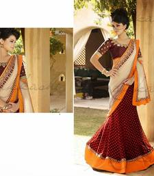 Buy Red and white designer saree diwali-gift-hampers-idea online