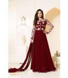 Buy maroon georgette embroidered semi stitiched salwar with dupatta anarkali-salwar-kameez online