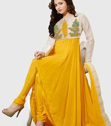 yellow georgette embroidered semi stitiched salwar with dupatta shop online