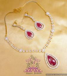 Buy Elegant American Diamond Ruby Necklace Set  Necklace online