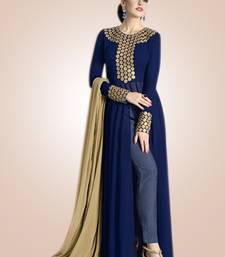 Blue georgette embroidered semi stitiched salwar with dupatta shop online