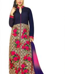 Buy Nevy blue cotton embroidered semi stitched salwar with dupatta salwars-and-churidar online