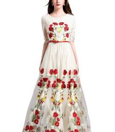 Buy White net embroidered semi stitched salwar with dupatta salwars-and-churidar online