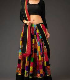 Buy Multicolor silk printed unstitched lehenga choli navratri-lehenga-chaniya-choli online