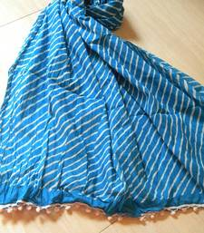 Buy Blue and white lehariya  stole-and-dupatta online