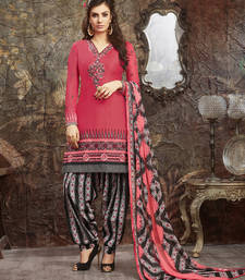 Buy Deep pink embroidered cotton unstitched salwar with dupatta salwars-and-churidar online