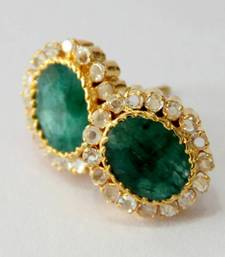Buy BEAUTIFUL EMRALD GREEN N POLKI STONE STUDDED TOPS FROM HYDERABAD JEWELS stud online