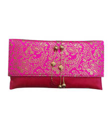Buy Pink brocade hand woven clutches clutch online