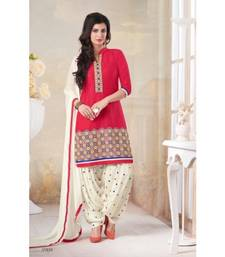 Buy Red poly cotton printed unstitched salwar with dupatta cotton-salwar-kameez online
