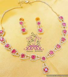 Buy Ruby American Diamond Necklace Sets Necklace online