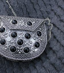 Buy Silver Metal Clutch with Black Stones clutch online