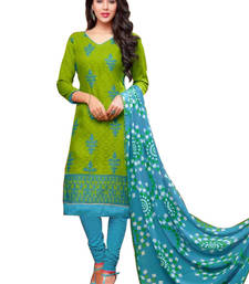 Buy Paroot jacquard cotton embroidered semi stitiched salwar with dupatta salwars-and-churidar online