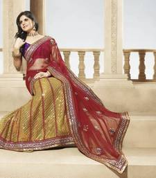 Buy Golden and Red Shimmer Net and Georgette Lehenga Saree shimmer-saree online