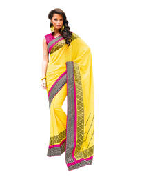 Buy Vishal Yellow Georgette Saree  TheCourtYard31526 georgette-saree online
