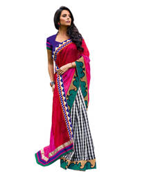 Buy Vishal Pink+Maroon Art Silk Saree  TheCourtYard31523 silk-saree online