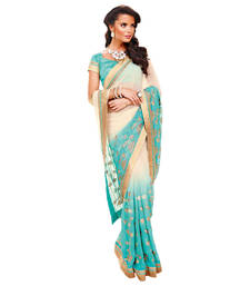 Buy Vishal Cream+Blue Georgette Saree  TheCourtYard31519 georgette-saree online
