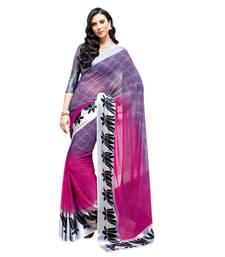 Buy Vishal Pink+Purple Georgette Art Silk Saree  VIctorianMirage31235 georgette-saree online
