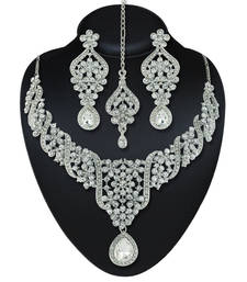 Buy Wedding Wear Austrian Stone Rhodium Finishing Necklace Set with Maang Tikka eid-jewellery online