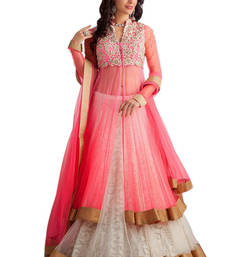 Buy Pink net and brasso embroidered unstitched lehenga choli navratri-lehenga-chaniya-choli online
