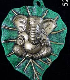 Buy Ganesha Green on A Leaf. XL. Silver coated Muhenera presents athish collection - 524  ganesh-chaturthi-gift online
