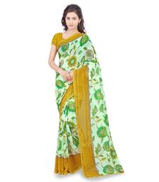 Buy Yellow printed faux georgette saree with blouse below-300 online