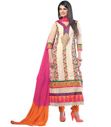 Buy Multicolor georgette embroidered semi stitched salwar with dupatta salwars-and-churidar online
