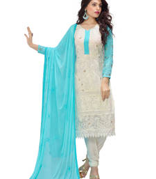 Buy Off white georgette embroidered semi stitiched salwar with dupatta eid-special-salwar-kameez online
