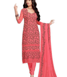 Buy Pink georgette embroidered semi stitiched salwar with dupatta eid-special-salwar-kameez online