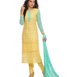 Buy Yellow georgette embroidered semi stitiched salwar with dupatta pakistani-salwar-kameez online