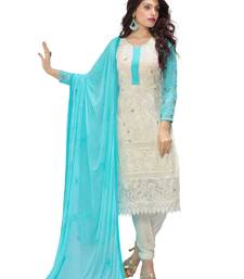 Buy White georgette embroidered semi stitiched salwar with dupatta pakistani-salwar-kameez online