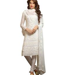 Buy White nazneen embroidered semi stitched salwar with dupatta salwars-and-churidar online