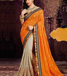Buy orange embroidered faux georgette saree With Blouse designer-embroidered-saree online