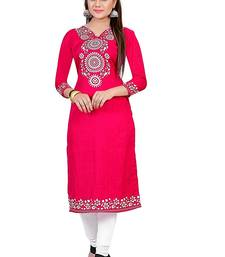 Buy Pashimo women's  Pink Color Cotton Kurti(cotton _pink _xl) plus-size-kurti online