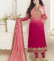 Buy Dark magenta georgette embroidered semi stitched salwar with dupatta salwars-and-churidar online