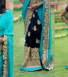 Buy georgette saree by kmozi (Sky Blue) designer-embroidered-saree online