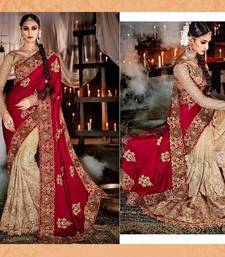 Beige embroidered Silk saree With Blouse shop online