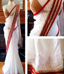Buy White embroidered lycra saree with blouse party-wear-saree online