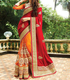 Buy Red embroidered art silk saree with blouse art-silk-saree online