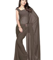 Buy Grey plain georgette saree with blouse below-400 online