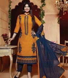 Buy Yellow and blue cotton embrodered semi stitiched salwar with dupatta collar-neck-design online