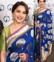 Buy Blue embroidered silk saree with blouse madhuri-dixit-saree online