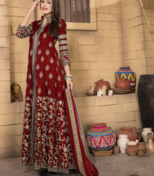 Buy Red silk embroidered semi stitiched salwar with dupatta party-wear-salwar-kameez online