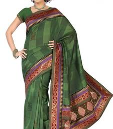 Buy Rusty Shaded Green Color Bhagalpuri Silk Fabric Saree with Blouse Diwali Gifts bhagalpuri-silk-saree online