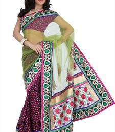 Buy Magenta viscose saree with unstitched blouse (amr1348) viscose-saree online