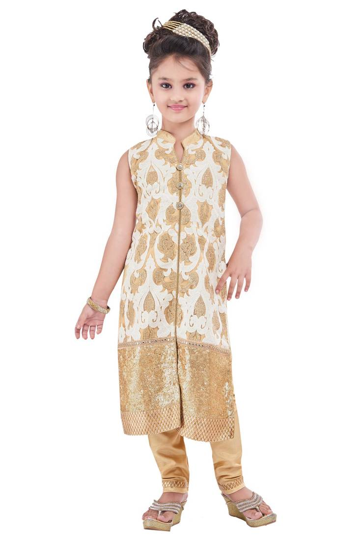 Buy cream embroidery and print dupion with netted fabric for Childrens dress fabric