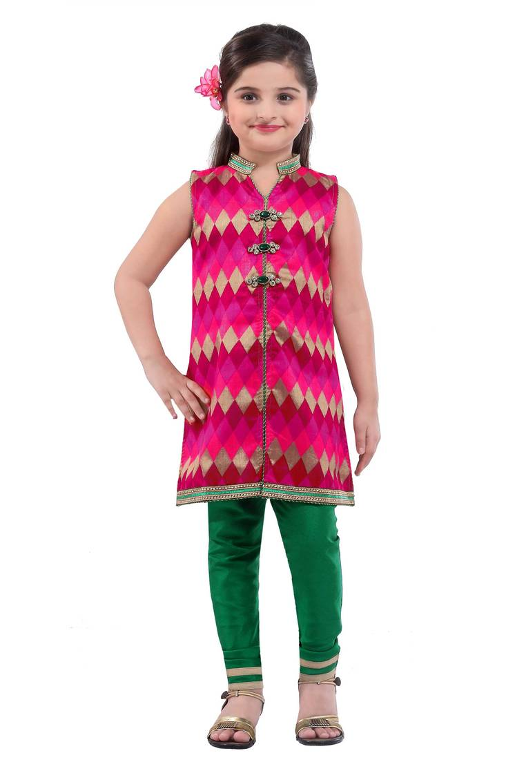 Buy pink embroidery and print dupion with netted fabric for Kids dress fabric